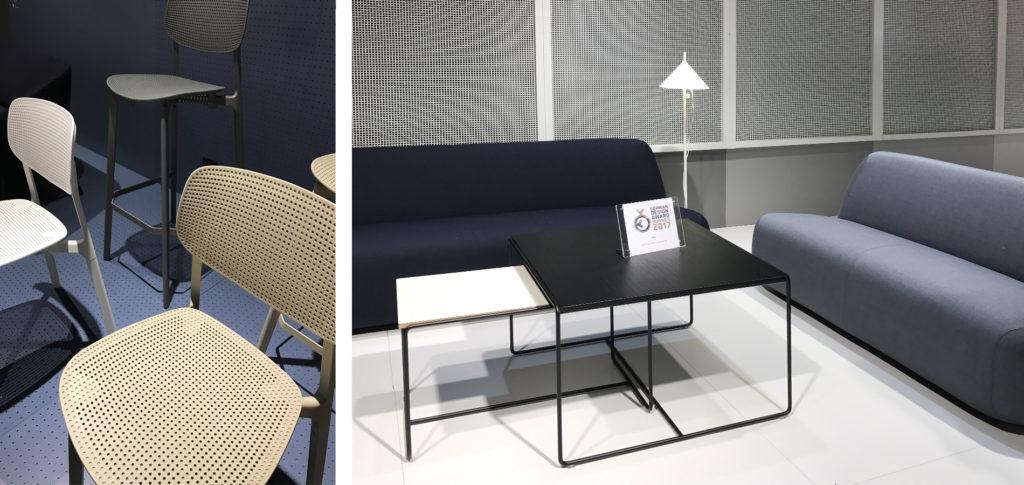 Stolar och rumsavdelare med effektfulla hålmönster.
