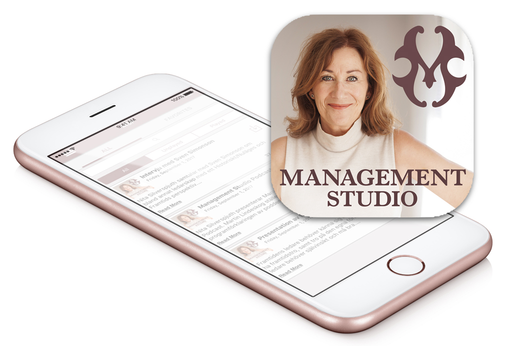 Smartphone med Management Studio-podden och app