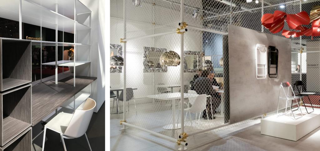 Bilderna är tagna på Inredningsmässan i Milano 2017 och visar ett luftigt hyllsystem samt rumsavdelare i gallernät.