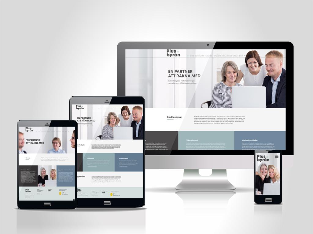 Responsiva webbplatsen plusbyran.se