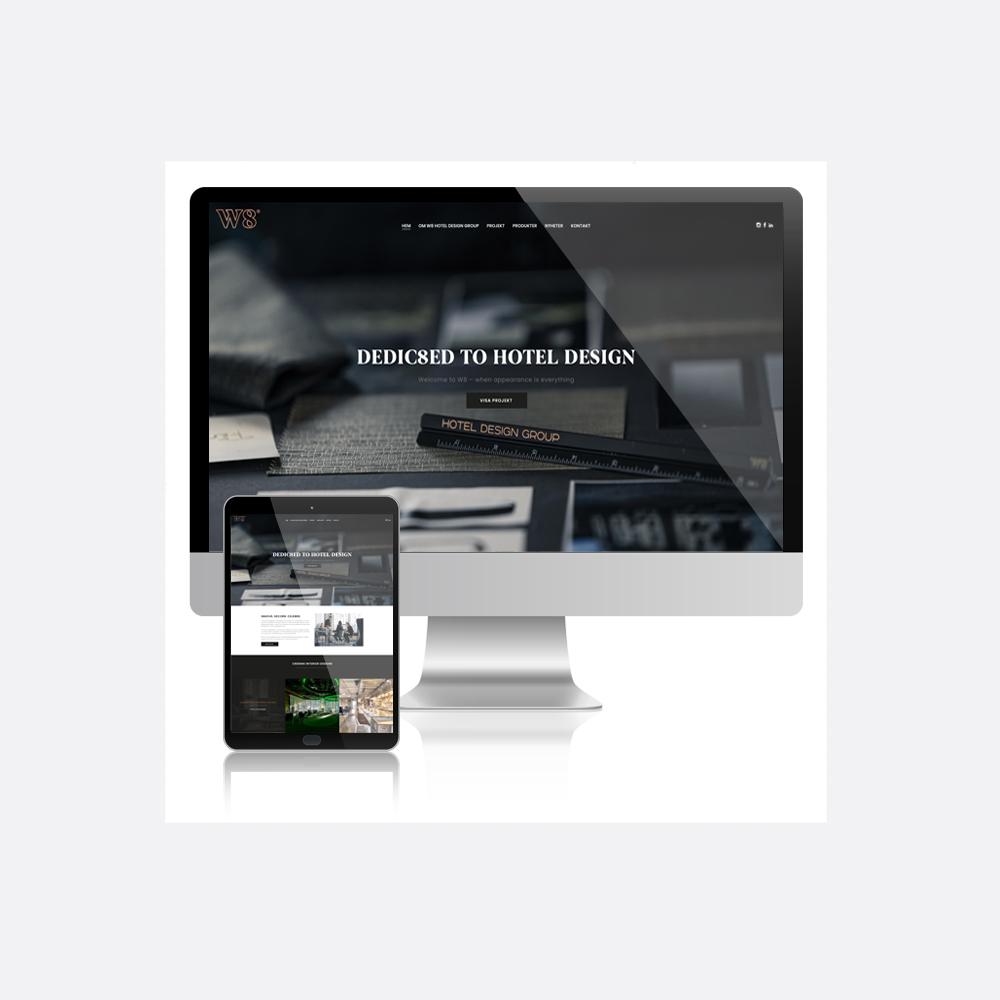 W8 Hotel Design Group startsida på desktop och tablet.